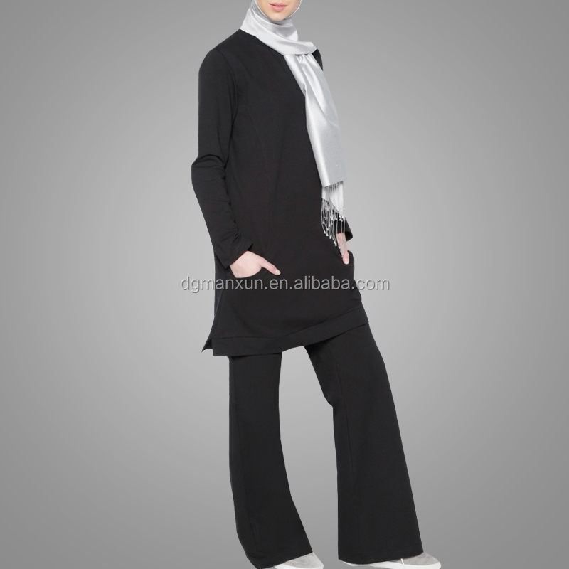 Top Selling Women Suits Casual Muslim Plain Clothing High Grade Two Pieces Abaya Suit
