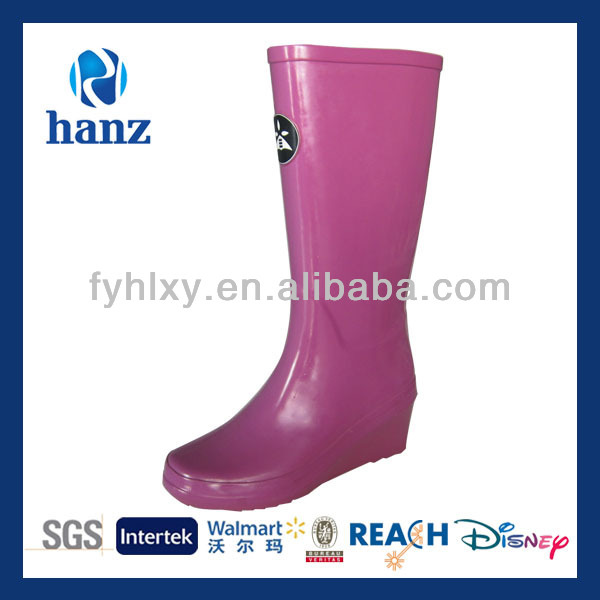 2014 mature sexy pink high heel long rubber rain boots women