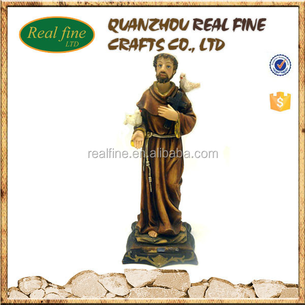 High quality polyresin catholic religious souvenir saint statues St. Francisco wholesale