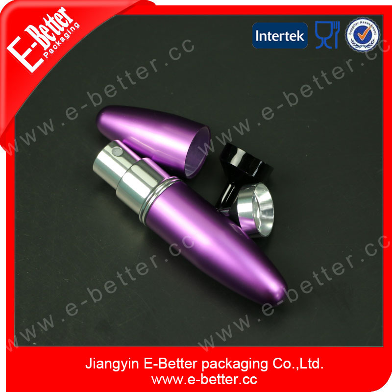 cute purple 3ml aluminum oxidated perfume atomizerm bottle for gift