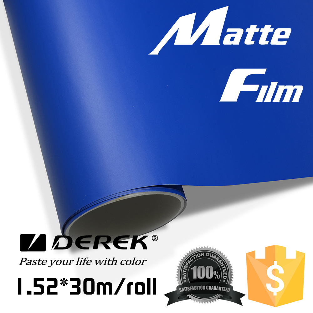 Derek 1.52x30m Dark Blue Matt Car Stickes/Car Removable Wrap Paper