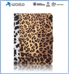 Leopard pattern leather case for ipad mini 4 with magnetic closure, hybrid leather case for ipad mini 4