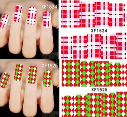 China nail wholesale XF stripe style nail stickers #XF1500-1537/full cover waterslide nail decals