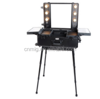 Wheeled Mobile Aluminum Trolley Vanity Makeup Case with Light and Legs