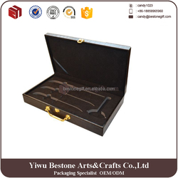 China high grade customized leather gift box packaging ,leather knife set box