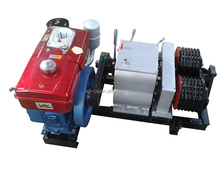 5T Double Capstan Cable Winch With Diesel Engine In Line Construction
