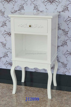 Bedside cabinet Table Single Drawers Off White Brass knobs side table