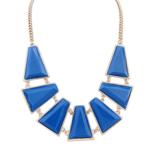 Deep blue resin jewelry molds wholesale fashion statement jewelry necklaces gold plated long fashion necklace PN2124