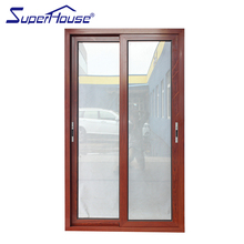 Factory direct supply double toughened glass wood color aluminium sliding door