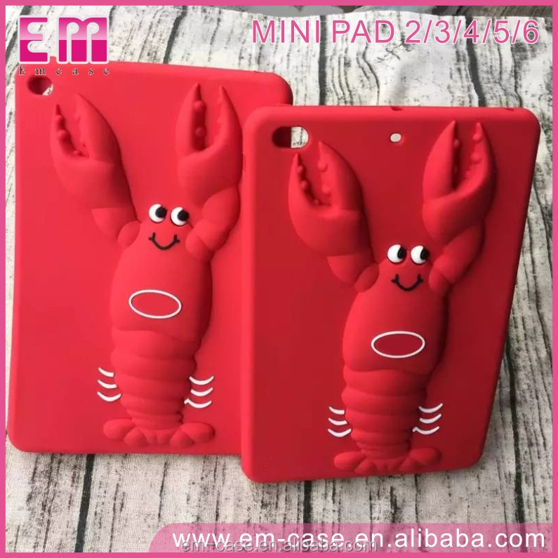 Cool adjustable 3D Waterproof Animal Red Lobster Silicone Case for Apple Mini iPad 2/3/4/5/6