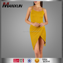 Custom Fashion Dress Wome Spaghetti Strap Dress Simple Pure Color Overlap Front Midi Dress Slim
