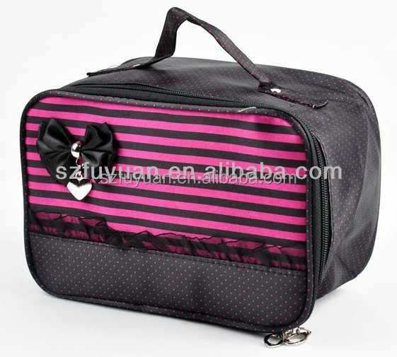 Wholesale satin material fancy lady cosmetic bag with high capacity