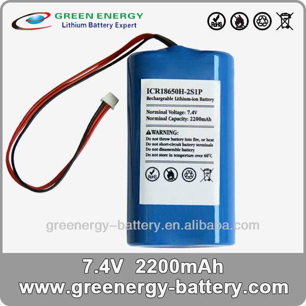 indicateur de charge de batterie 7.2v 2200mah li-ion battery pack