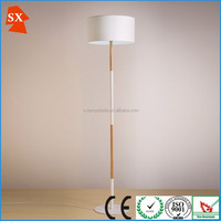 Simple plain white cylindrical fabric black metal wood restaurant floor lamp