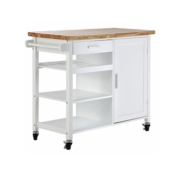 Marble or Rubber Wood Top Small Trolley For Kitchen