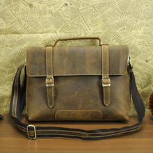 Retro men genuine leather messenger bag leather laptop bag men