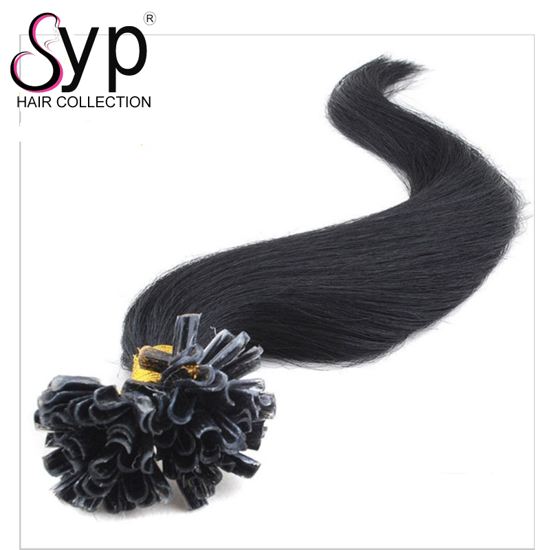 U Tip Virgin Hair Bundle, Temporary Human Brazilian Hair Color Extensions Sale Natural Black