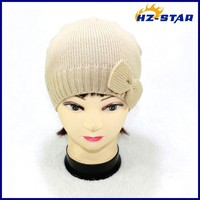 HZM-12103002 hot selling single ply lady 100 acrylic knit ear flap winter hat baseball caps