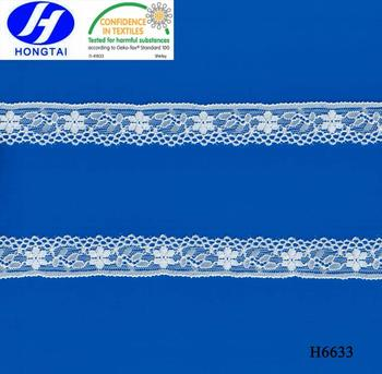 Wholesale from hongtai Jacquard White Nylon/Cotton Stretch Elastic Lace Trim, Lace Trimming For Underwear For Lingerie