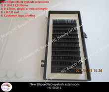 Factory Direct Customized logo Ellipse Flat eyelash extension Semi Permanent individual