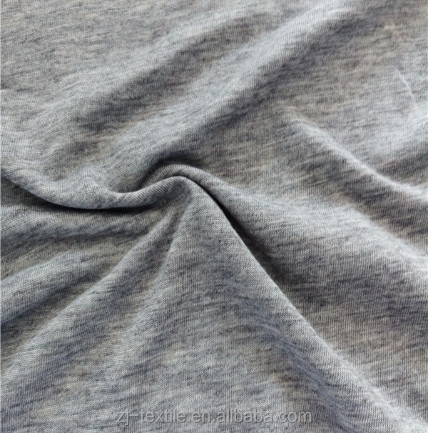 weft knitted polyester wool single jersy fabric 150 gsm grey melange color fabric for garment