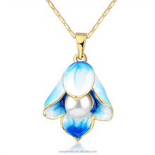 Flower pendant fashion jewelry crystal latest design pearl necklace