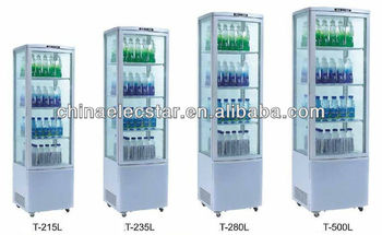 four sided glass beverage fridge,free standing with LED light