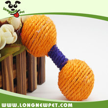 Barbell Shaped Sisal Dog Chew Toys Tough Pet Toy Dog Rope Toys