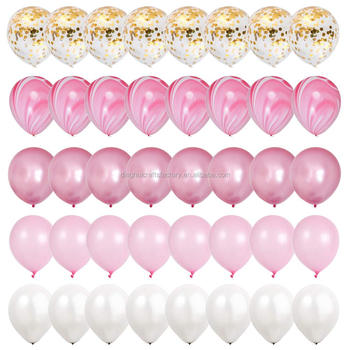 Hot-selling 12-inch metallic agate condfetti balloon set with marbling birthday party decorations