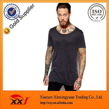 Men's Short Sleeve O-Neck longline t-shirt 50 polyester 25 cotton 25 rayon t shirt