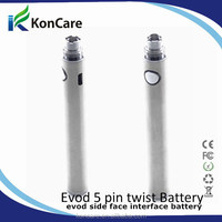 2014 new evod usb passthrough battery evod 5 pin battery with 5 LED from koncare china supplier with best quality