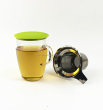 New Silicon Lid Clear Borosilicate 350ml Glass Tea Cup With Infuser