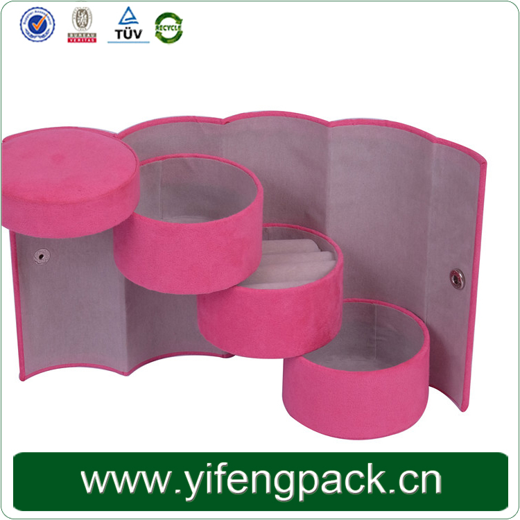 Unique style creative product customized pink velvet Jewelry gift box