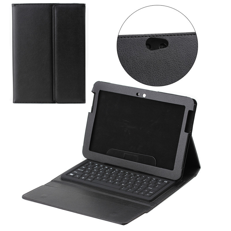 Litchi bluetooth keyboard leather case for Samsung Note N8000 with stand