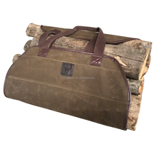 China Manufactory Customized Logo Collapsible Waterproof Waxed Canvas Firewood Carrier Holder Log Carrier Firewood Bag