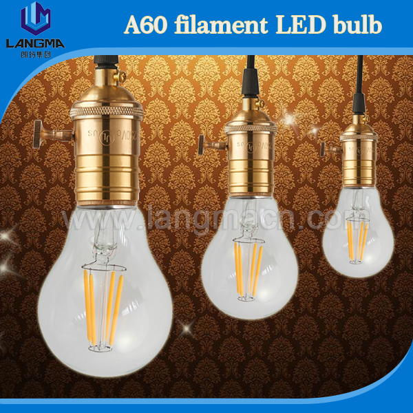 a60 e27 light bulb vintage 4w led filament bulb replace 10w e27 led lamp bulbs