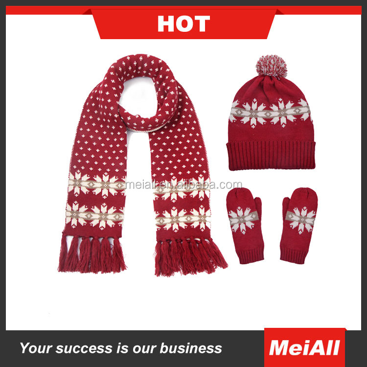 snowflake christmas knit hat scarf and gloves set women winter wear