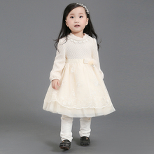 one piece girls party dresses woolen dress for winter 3years old baby wear