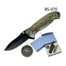 camouflage clip hunting knife with led light