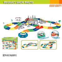 Battery operated slot car toys creating flexile track set