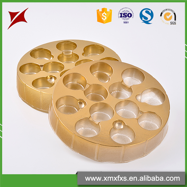 Golden plastic blister PET packaging chocolate insert tray