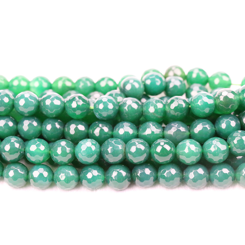 12mm faceted green agate beads in loose strands for jewelry making