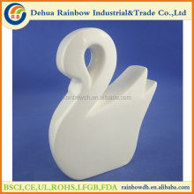 white glazed ceramic swan home decor