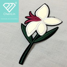 Fashion orchid applique custom embroidery floral patches