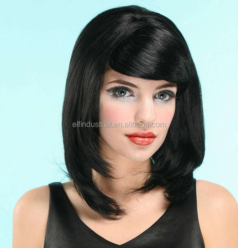 China manufacturer wholesale cheap Synthetic black women brazilian human hair lace front wig