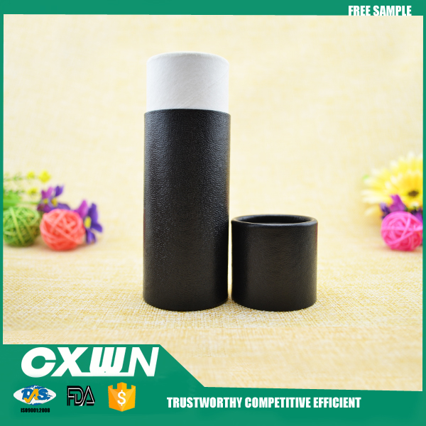 round paper cardboard tube 30ml with custom printed black paper box for oils