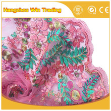 Hot 2016 Baby Pink French Lace Colorful Embroidered Mesh Fabric