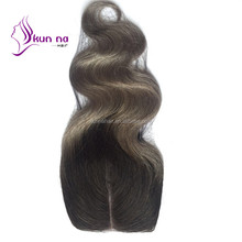 cheap price lace closure ombre hair color 100 human hair extension wholesale T1b/grey virgin indian hair