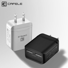 CAFELE Travel USB US Charge Plug 2.4A Dual output Universal Adapter Charger Smart Mobile Phone Charger For iPhone Samsung