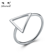 925 sterling silver simple design finger triangle hollow silver ring for women